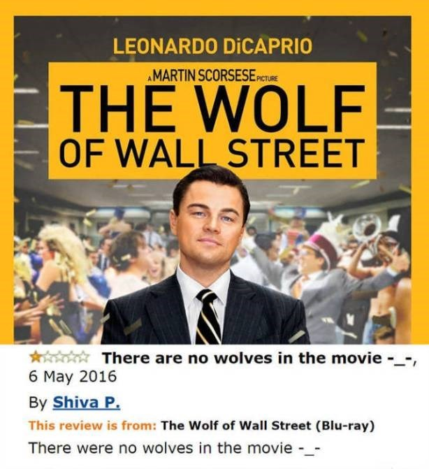 funny review of the wolf of wallstreet complaining that there was no wolves in the movie