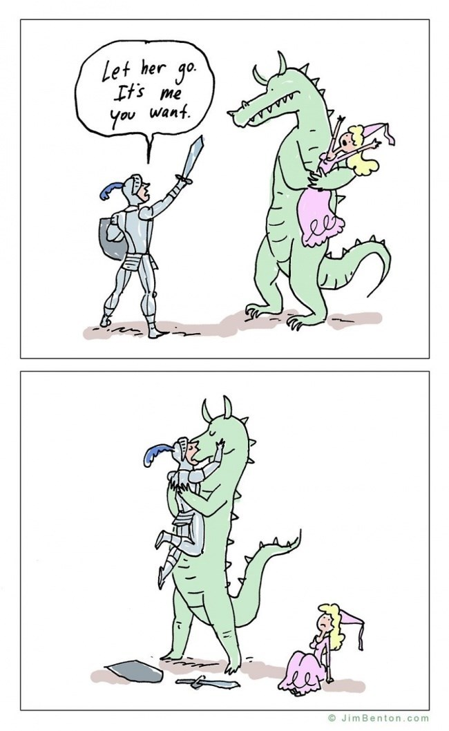Cartoon - Let her go. Ifs me You wanf O JimBenton.com