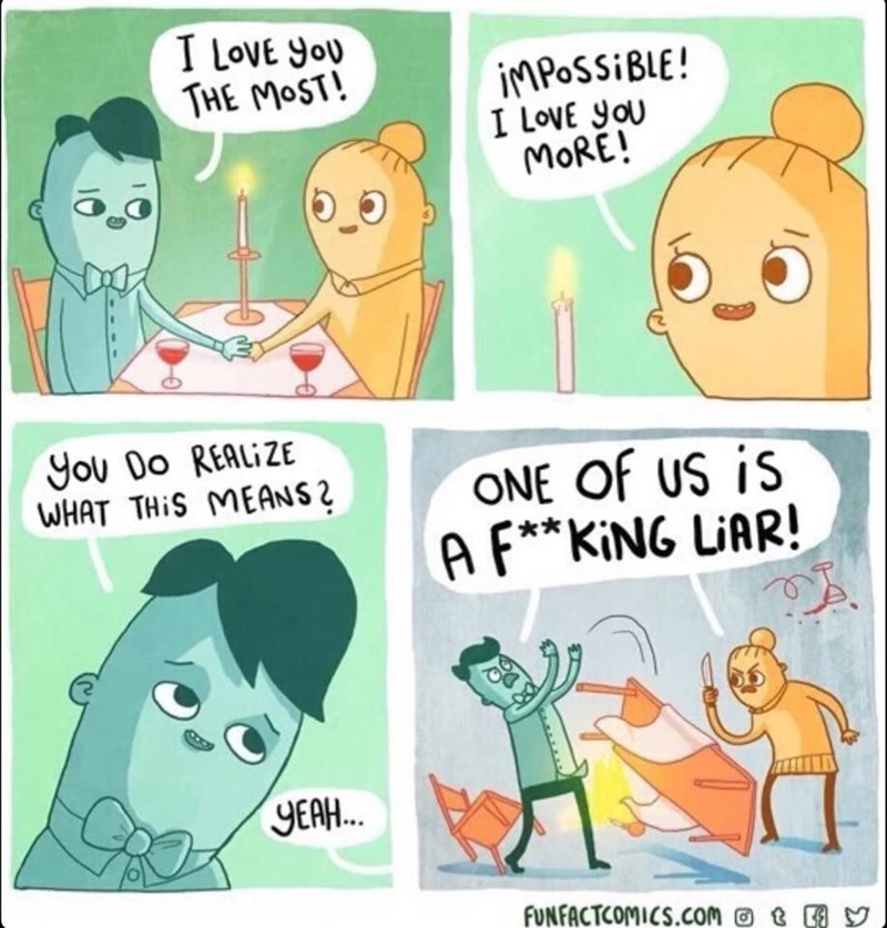 Cartoon - I LovE you THE MOST! IMPOSSIBLE! I LoVE you MORE! You Do REALIZE WHAT THIS MEANS2 ONE Of US is AF**KING LIAR! YEAH. FUNFACTCOMICS.Comt