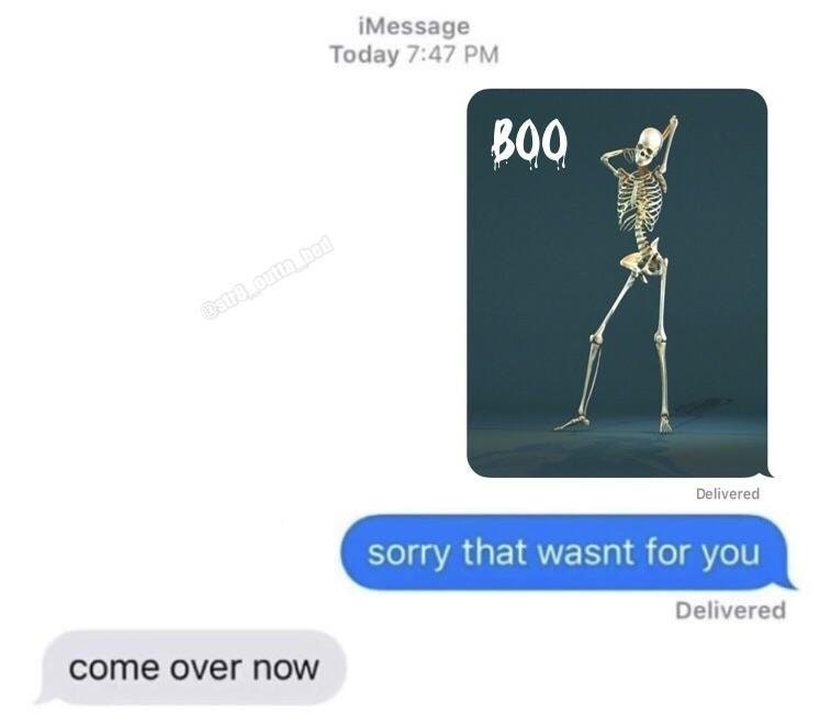 Funny meme about sexting skeletons.