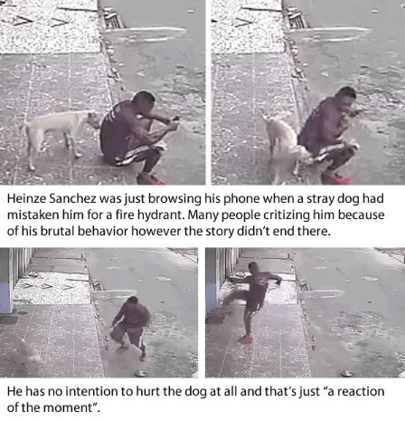 "Photography - Heinze Sanchez was just browsing his phone when a stray dog had mistaken him for a fire hydrant. Many people critizing him because of his brutal behavior however the story didn't end there. He has no intention to hurt the dog at all and that's just ""a reaction of the moment"""