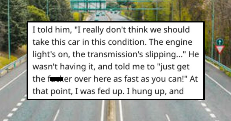 Dealership employee has an abusive boss so he drives a traded car until it's broken.