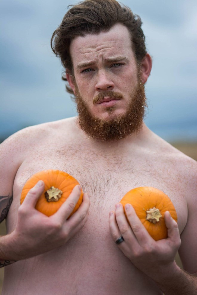 husband poses for wife - Winter squash