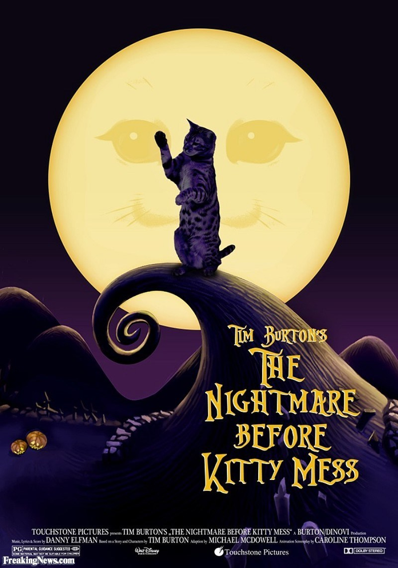 Poster - TOM BUKTONS NIGHTMARE BFFORE KTTY MESS TOUCHSTONE PICTURES pee TIM BURTONS THE NIGHTMARE BEFORE KITTY MESS BURTON/DINOVI Mic Lyrio & Sore by DANNY ELFMAN ved on a Sary asd Charaten by TIM BURTON Aäapim by MICHAEL MCDOWELLnimati Sentply by CAROLINE THOMPSON hadation PG PARENTAL GUDANCE SUGGESTED (ar DO DOLBY STERE Touchstone Pictures ww. FreakingNews.com