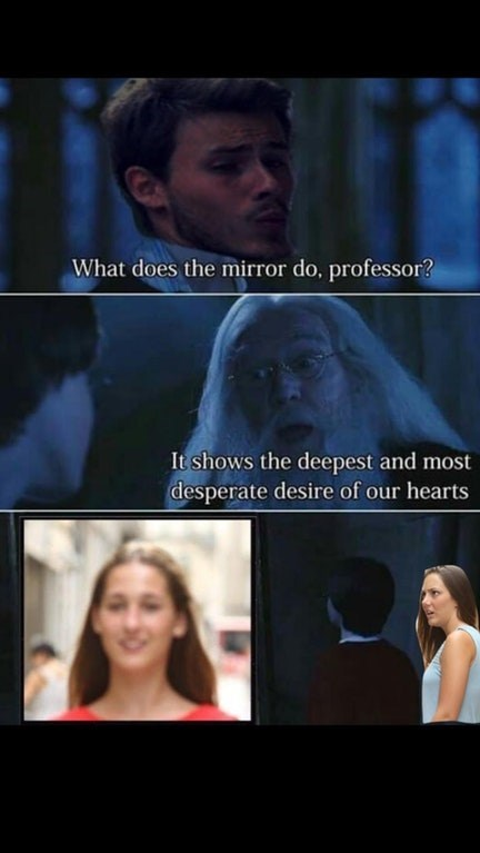 distracted boyfriend meme asking dumbledoor what the mirror shows and it shows distracted boyfriend looking at the other girl and his girlfriend watches this
