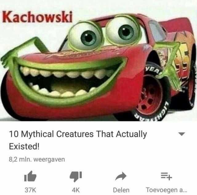 meme image of Disney's lightning McQueen and Mike Wazoski, in a YouTube video of creatures that actually exist