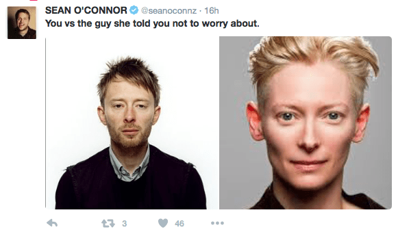Face - SEAN O'CONNOR@seanoconnz 16h You vs the guy she told you not to worry about. t3 46