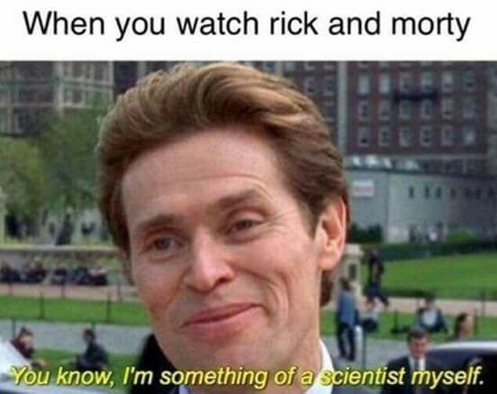 Funny meme about people who like Rick and Morty feeling like they are scientists.