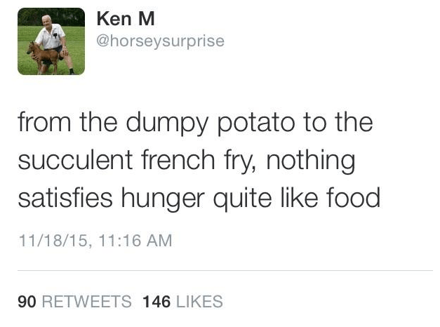 Text - Ken M @horseysurprise from the dumpy potato to the succulent french fry, nothing satisfies hunger quite like food 11/18/15, 11:16 AM 90 RETWEETS 146 LIKES