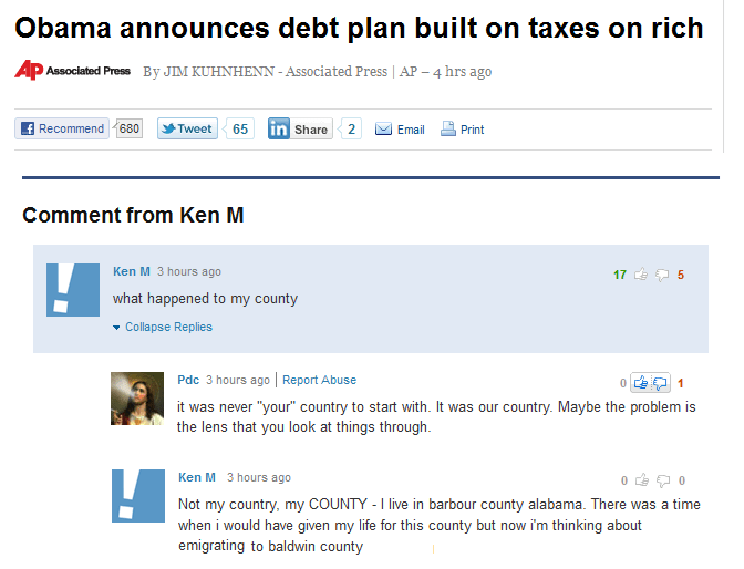"""Text - Obama announces debt plan built on taxes on rich Associated Press By JIM KUHNHENN-Associated Press AP - 4 hrs ago fRecommend 680 Print Tweet65 in Share Email Comment from Ken M Ken M 3 hours ago 5 17 what happened to my county Collapse Replies Pdc 3 hours ago 