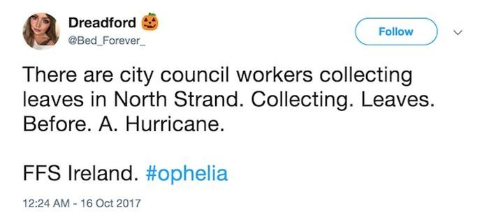 Text - Dreadford Follow Bed _Forever There are city council workers collecting leaves in North Strand. Collecting. Leaves. Before. A. Hurricane. FFS Ireland. #ophelia 12:24 AM 16 Oct 2017