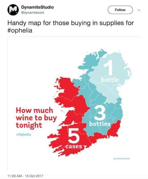 Text - DynamiteStudio @dynamitecork Follow Handy map for those buying in supplies for #ophelia bottle 3 How much wine to buy tonight bottles Ophelia cases dynamitestudio 11:20 AM -15 Oct 2017