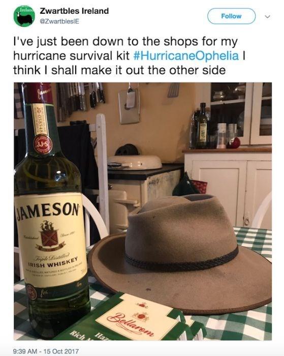 Liqueur - Follow eZwartbles Ireland @ZwartblesIE I've just been down to the shops for my hurricane survival kit #HurricaneOphelia I think I shall make it out the other side JJ S JAMESON IRISH WHISKEY en Trple Litlle Bellarem Rich Haz 9:39 AM-15 Oct 2017 JQ-058548
