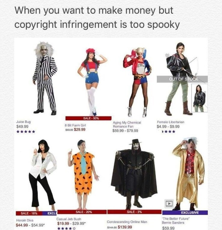 Funny meme about halloween costume names that avoid copyright infringement.