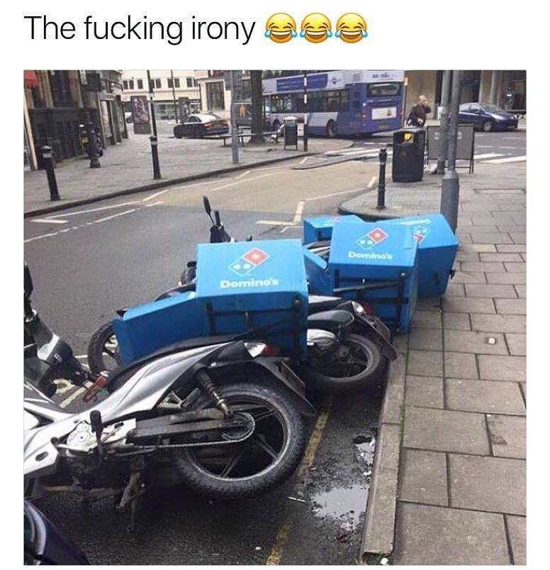 Funny mem eabout dominos delivery bikes toppling like dominos the toy.