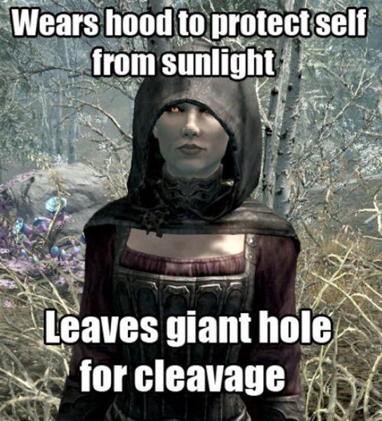 Photo caption - Wears hood to protectself from sunlight Leaves giant hole for cleavage