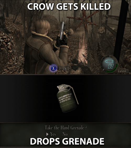 Adventure game - CROW GETS KILLED X TAKE LID Leon 22-2150 Take the Hand Grenade? Yes No DROPS GRENADE