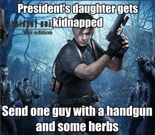 Action-adventure game - Presidents daughtergets oni eukidnapped Wii edition Send one guy with a handgun and some herbs