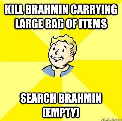 Yellow - KILL BRAHMIN CARRYING LARGE BAG OF ITEMS SEARCH BRAHMIN EMPTYI quickmeme.com