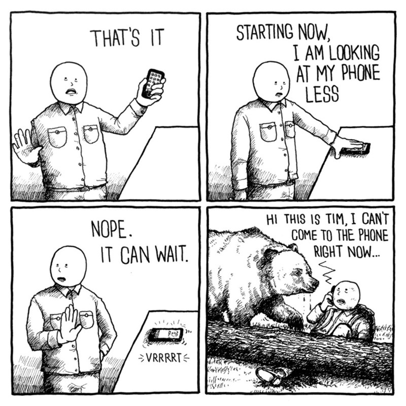 Cartoon - STARTING NOW I AM LOOKING AT MY PHONE LESS THAT'S IT HI THIS IS TIM, I CANT COME TO THE PHONE RIGHT NOW... NOPE IT CAN WAIT VRRRRT