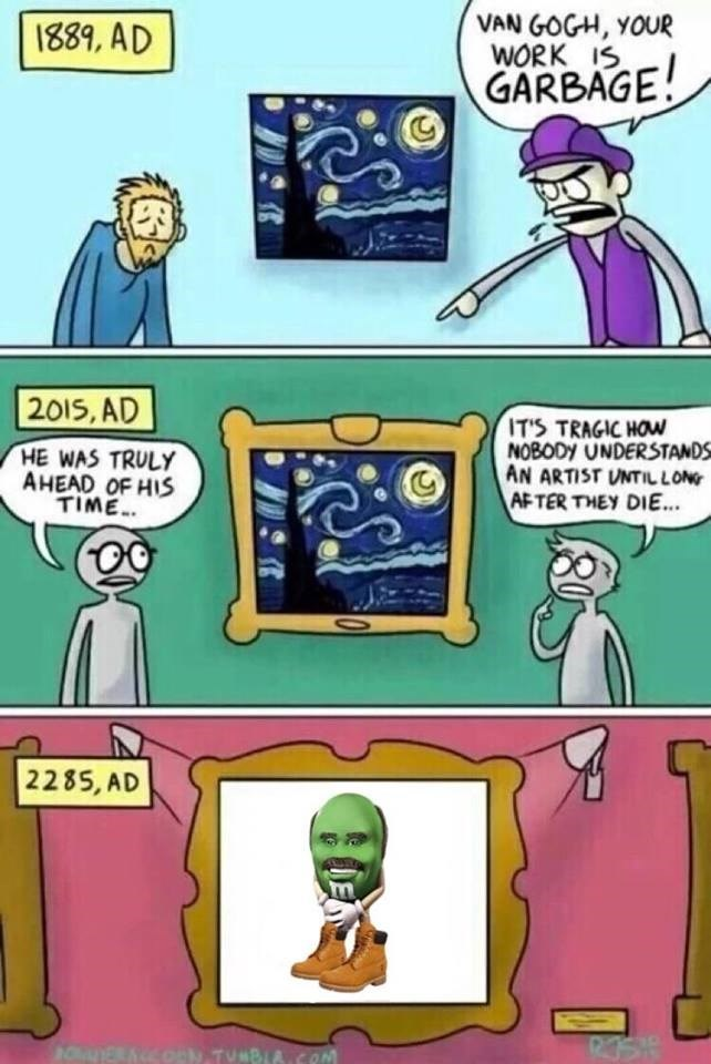 Funny meme about how in the future memes will be in museums like classic works of art.