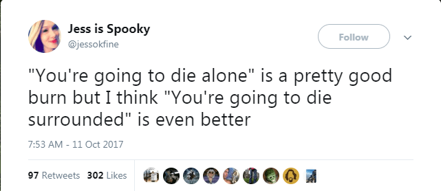 "Text - Jess is Spooky Follow @jessokfine ""You're going to die alone"" is a pretty good burn but I think ""You're going to die surrounded"" is even better 7:53 AM -11 Oct 2017 97 Retweets 302 Likes"