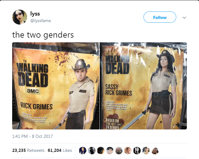 Text - lyss @lyssfame Follow the two genders MALK DEAD I THE THE WALKING DEAD SASSY RICK GRIMES aMC isors RICK GRIMES ERNOeESherif Hr BASED ON THE HIT TV SERIES dpemd 1:41 PM 8 Oct 2017 23,235 Retweets 61,204 Likes