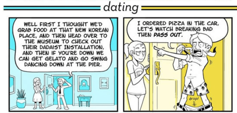webcomic - Cartoon - :dating I ORDERED PIA IN THE CAR LET'S WATCH BREAKING BAD THEN PASS OUT WELL FIRST I THOUGHT WE'D GRAB FOOD AT THAT NEW KOREAN PLACE, AND THEN HEAD OVER TO THE MUSEUM TO CHECK OUT THEIR DADAIST INSTALLATION, AND THEN IF you'RE DOWN WwE CAN GET GELATO AND GO SWING DANCING DOWN AT THE PIER drop