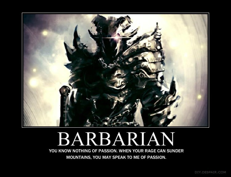 Album cover - BARBARIAN YOU KNOW NOTHING OF PASSION. WHEN YOUR RAGE CAN SUNDER MOUNTAINS, YOU MAY SPEAK TO ME OF PASSION. DIY.DESPAIR.COM
