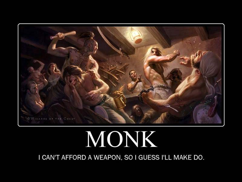 Human - WIZA RDS OP THE CO & ST MONK I CAN'T AFFORD A WEAPON, sO I GUESS I'LL MAKE DO.