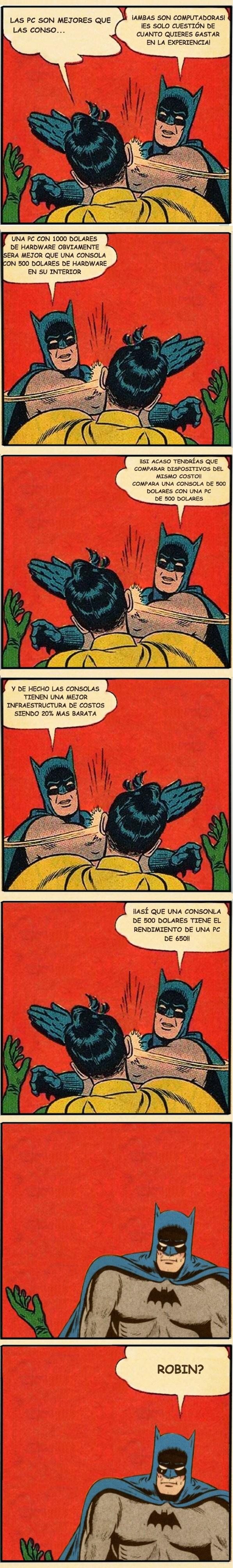 batman meme pegandole a robin para defender las consolas sobre el pc