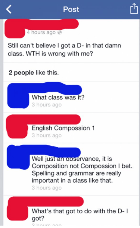 Someone venting about getting a D- in and English class they couldn't even spell the name of.