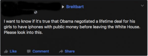 Someone demanding someone look into a rumor they heard that Obama negotiated a lifetime deal for his girls to have iphones with public money