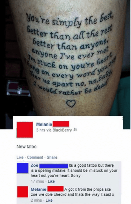 Melanie has spelling error on tattoo and won't admit it, answers with really bad spelling.