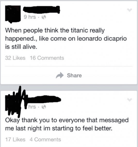 Someone posting about how Titanic didn't happen because Leonardo DiCaprio is still alive.