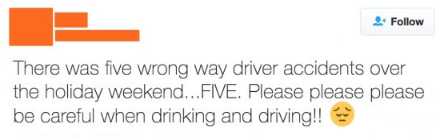 Someone tweeting asking people to be careful when drinking and driving