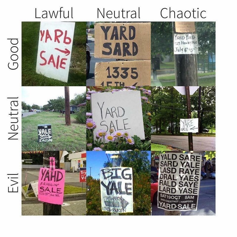 Funny meme about yard sale spelling and its alignment chart.