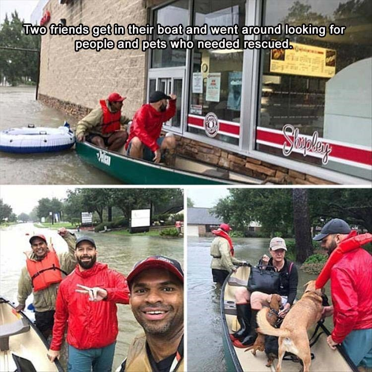 Red - TWo friends get in their boat and went around looking for people and pets who needed rescued