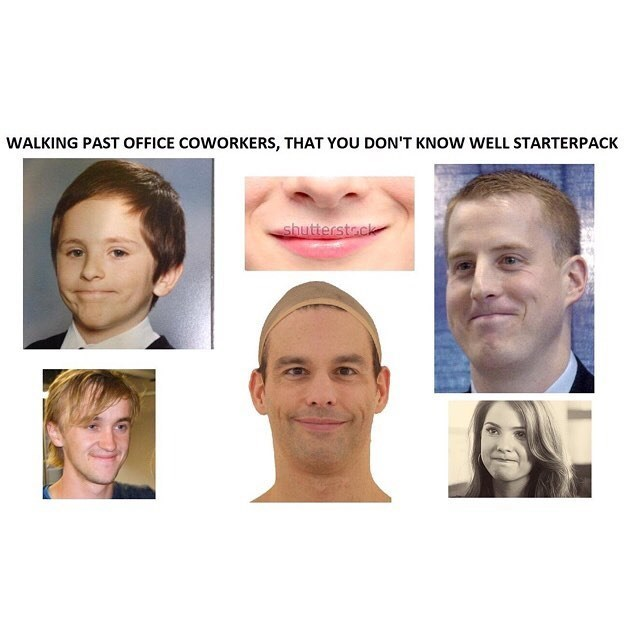 funny meme about how you smile tightly when you see coworkers you dont know well.