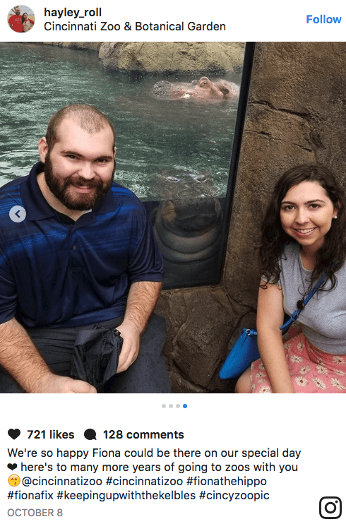 Photography - hayley_roll Cincinnati Zoo & Botanical Garden Follow 721 likes 128 comments We're so happy Fiona could be there on our special day here's to many more years of going to zoos with you @cincinnatizoo #cincinnatizoo #fionathehippo #fionafix #keepingupwiththekelbles #cincyzoopic ОСТОВER 8