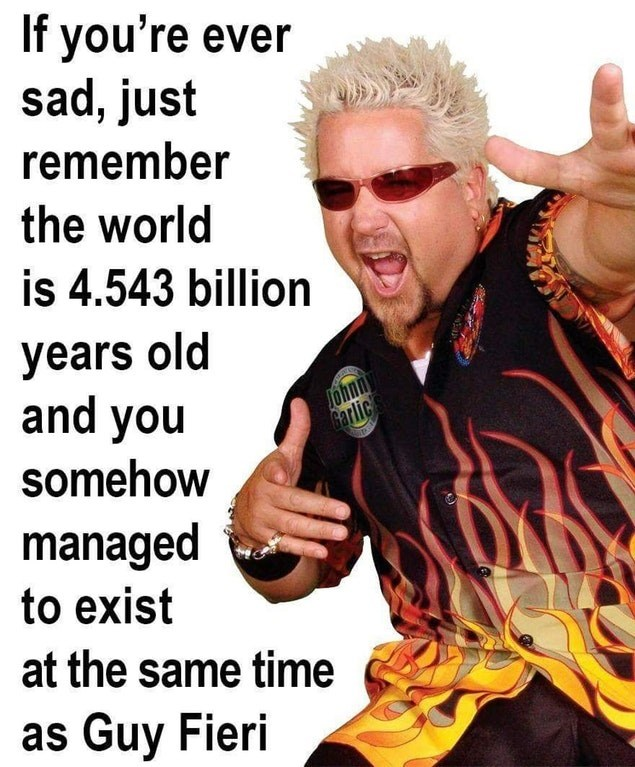 Funny meme about existing at the same time as Guy Fieri.