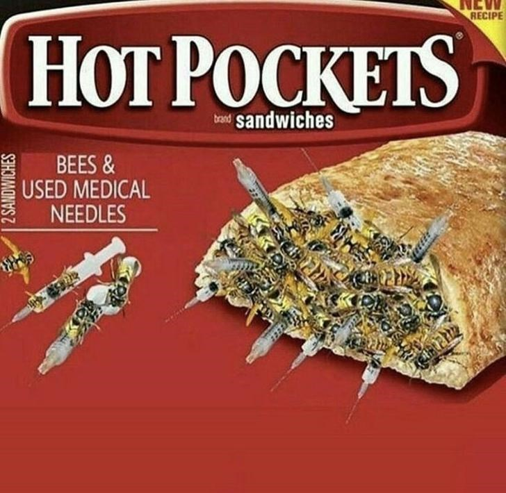 Cuisine - RECIPE HOT POCKETS sandwiches brand BEES & USED MEDICAL NEEDLES 2 SANDWICHES