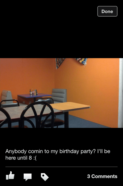 Saddest post on the internet of someone who had nobody show up for his birthday.