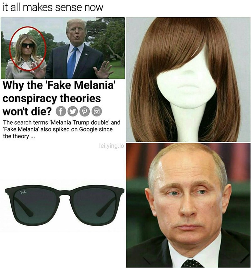 Funny meme suggesting Vladimir Putin put on a costume to look like Melania Trump.