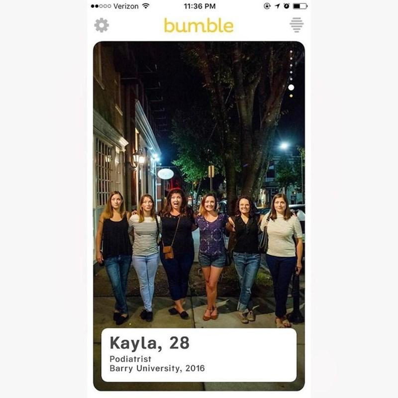 Product - ooo Verizon 11:36 PM bumble Kayla, 28 Podiatrist Barry University, 2016
