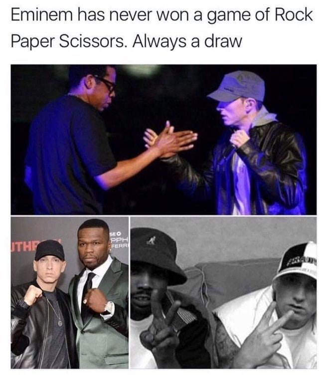 Funny meme baout Eminem winning rock paper scissors.