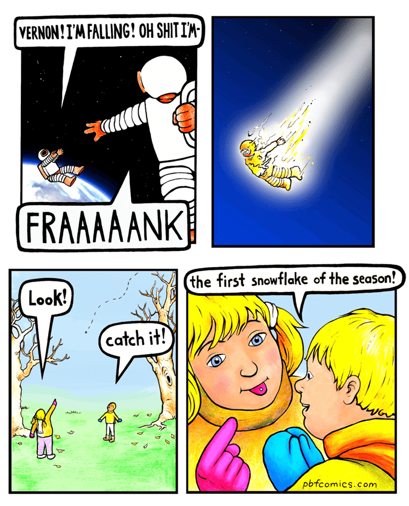 Cartoon - VERNON!IMFALLING! OH SHIT I'M- FRAAAAANK the first snowflake of the season! Look! catch it! pbfcomics.com