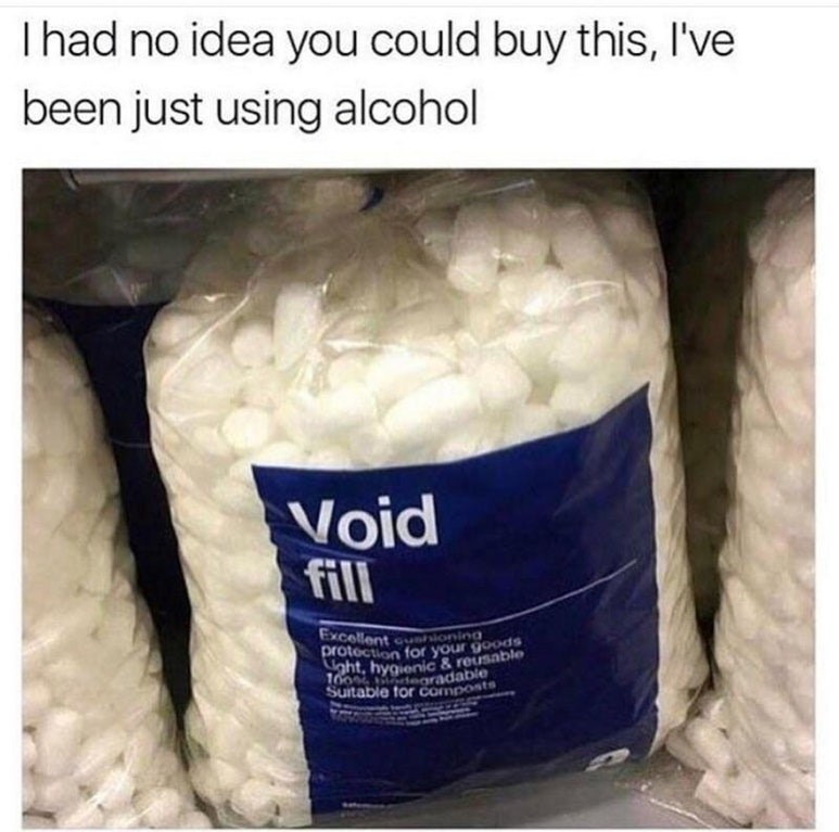 Funny meme about void fill.