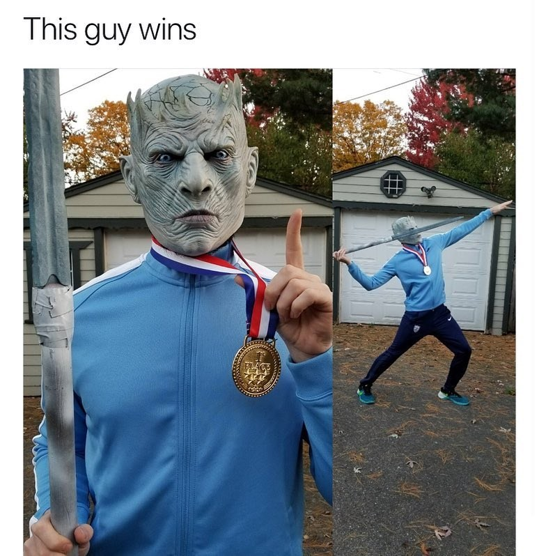 funny meme about game of thrones costume, white walker javelin thrower olympics.