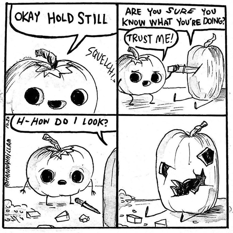 Funny web comic about jack-o-lantern carving his friend pumpkin poorly.